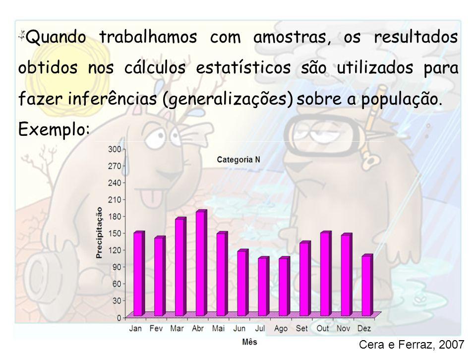 Quando trabalhamos com amostras, os resultados obtidos nos cálculos estatísticos são utilizados para fazer inferências (generalizações) sobre a população.