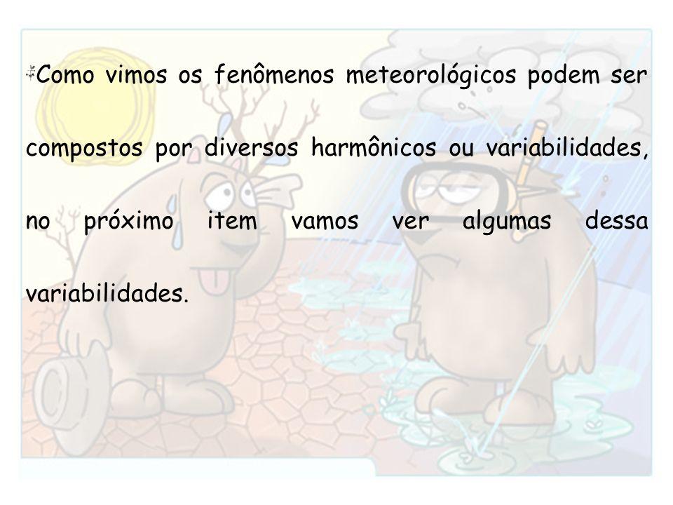 Como vimos os fenômenos meteorológicos podem ser compostos por diversos harmônicos ou variabilidades, no próximo item vamos ver algumas dessa variabilidades.