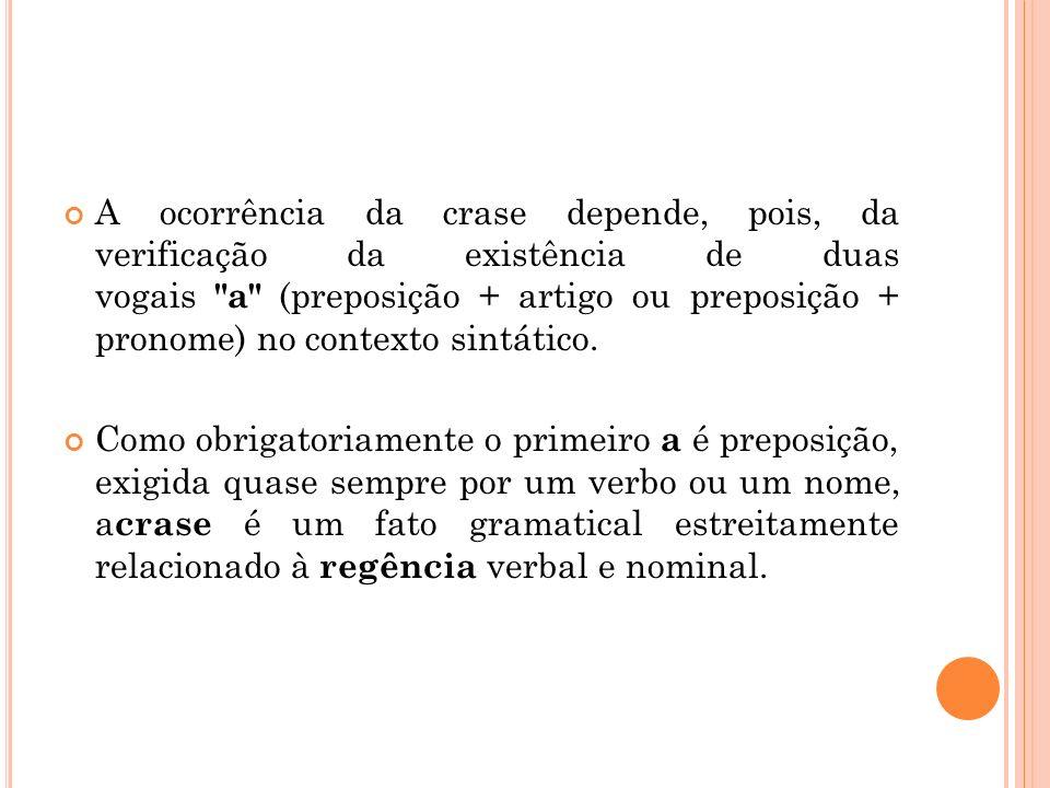 A ocorrência da crase depende, pois, da verificação da existência de duas vogais a (preposição + artigo ou preposição + pronome) no contexto sintático.