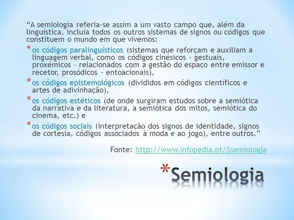 A semiologia referia-se assim a um vasto campo que, além da linguística, incluía todos os outros sistemas de signos ou códigos que constituem o mundo em que vivemos: