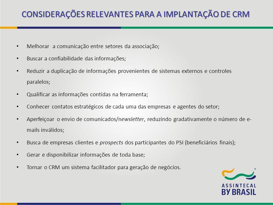 CONSIDERAÇÕES RELEVANTES PARA A IMPLANTAÇÃO DE CRM