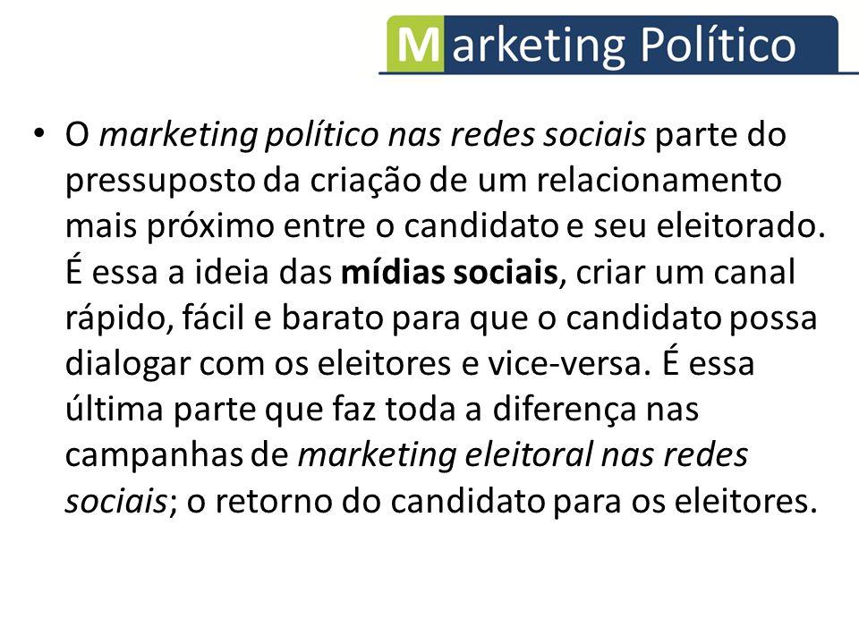 O marketing político nas redes sociais parte do pressuposto da criação de um relacionamento mais próximo entre o candidato e seu eleitorado.