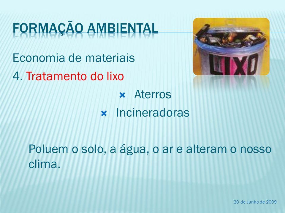 Formação ambiental Economia de materiais 4. Tratamento do lixo Aterros