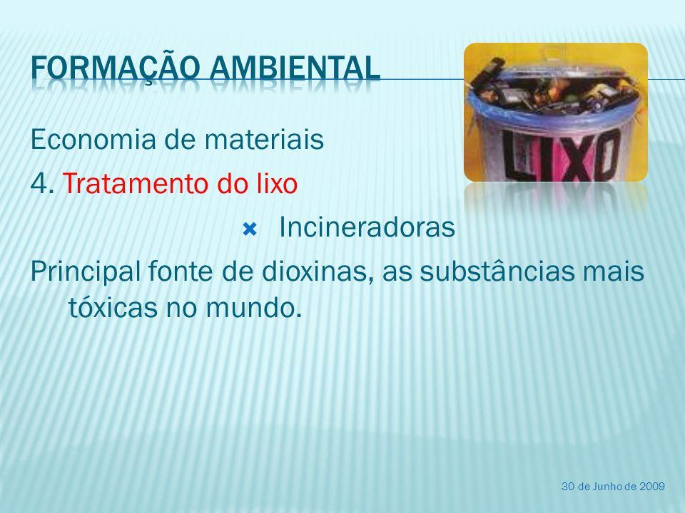 Formação ambiental Economia de materiais 4. Tratamento do lixo