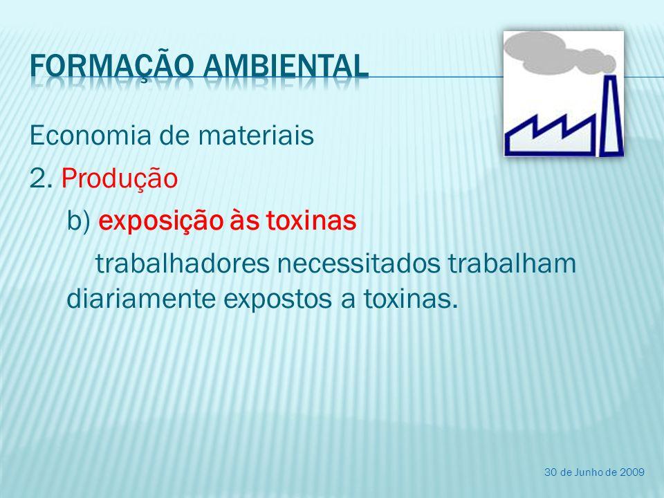 Formação ambiental Economia de materiais 2. Produção b) exposição às toxinas trabalhadores necessitados trabalham diariamente expostos a toxinas.