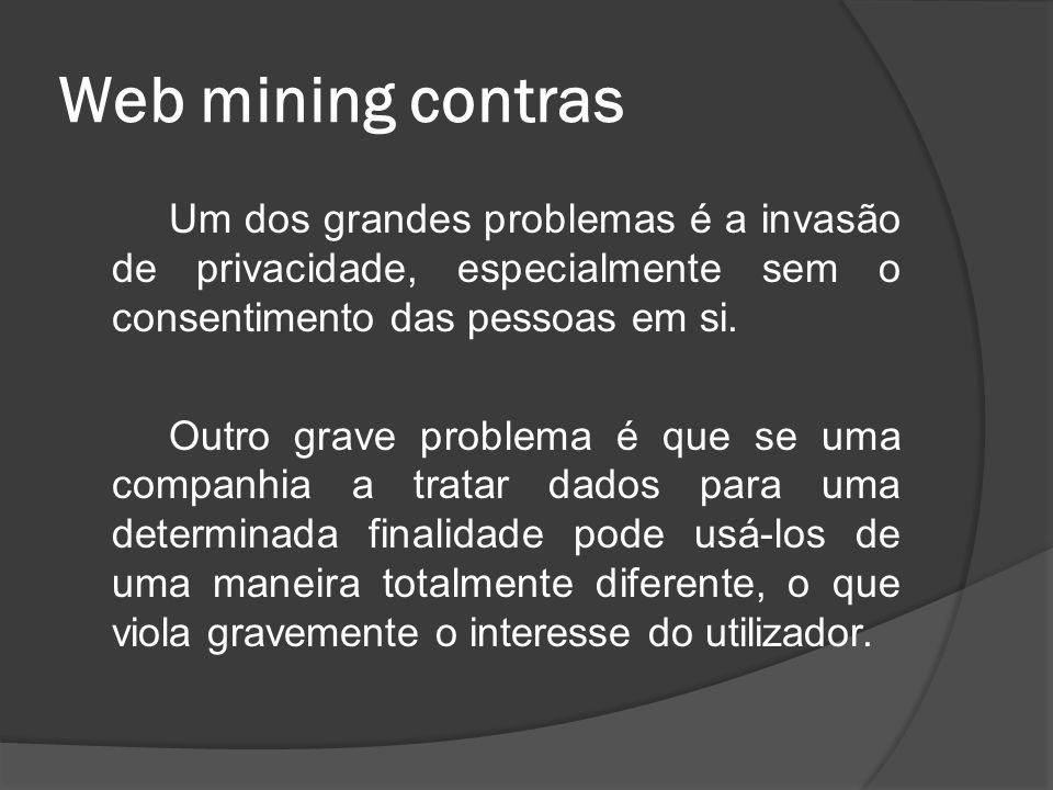 Web mining contras Um dos grandes problemas é a invasão de privacidade, especialmente sem o consentimento das pessoas em si.