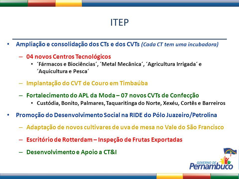 ITEP Ampliação e consolidação dos CTs e dos CVTs (Cada CT tem uma incubadora) 04 novos Centros Tecnológicos.