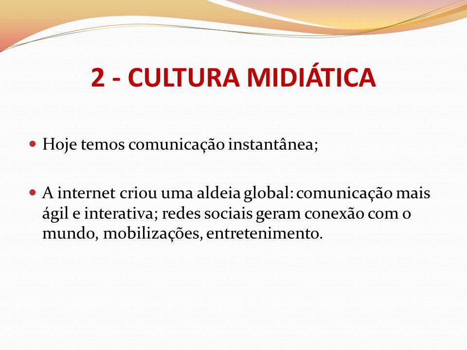 2 - CULTURA MIDIÁTICA Hoje temos comunicação instantânea;