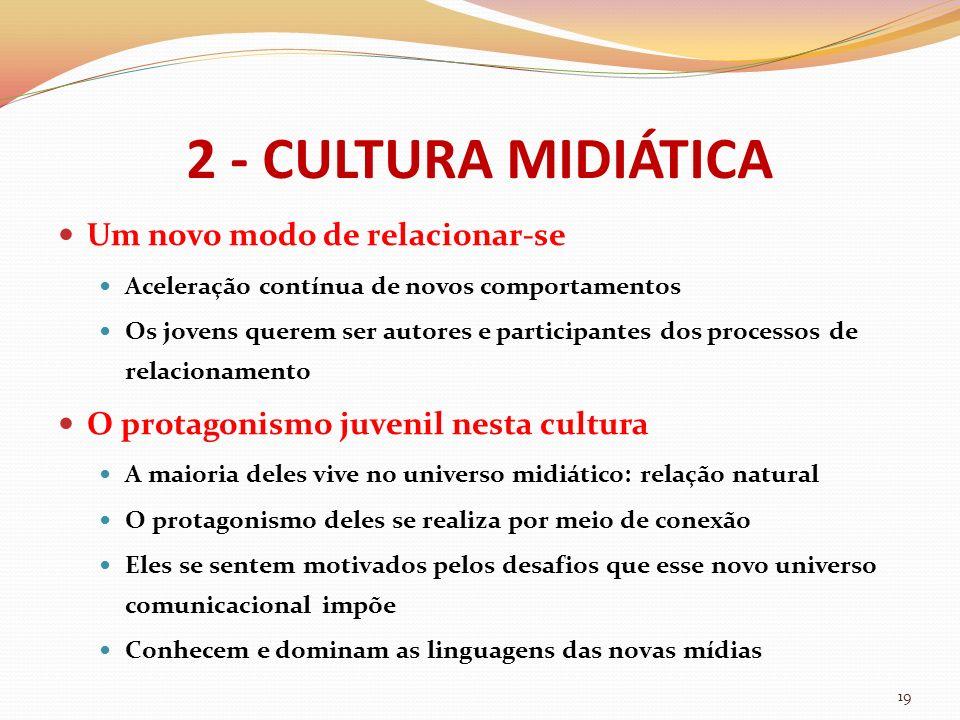 2 - CULTURA MIDIÁTICA Um novo modo de relacionar-se