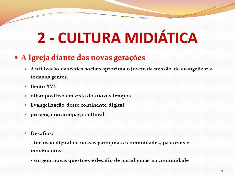 2 - CULTURA MIDIÁTICA A Igreja diante das novas gerações