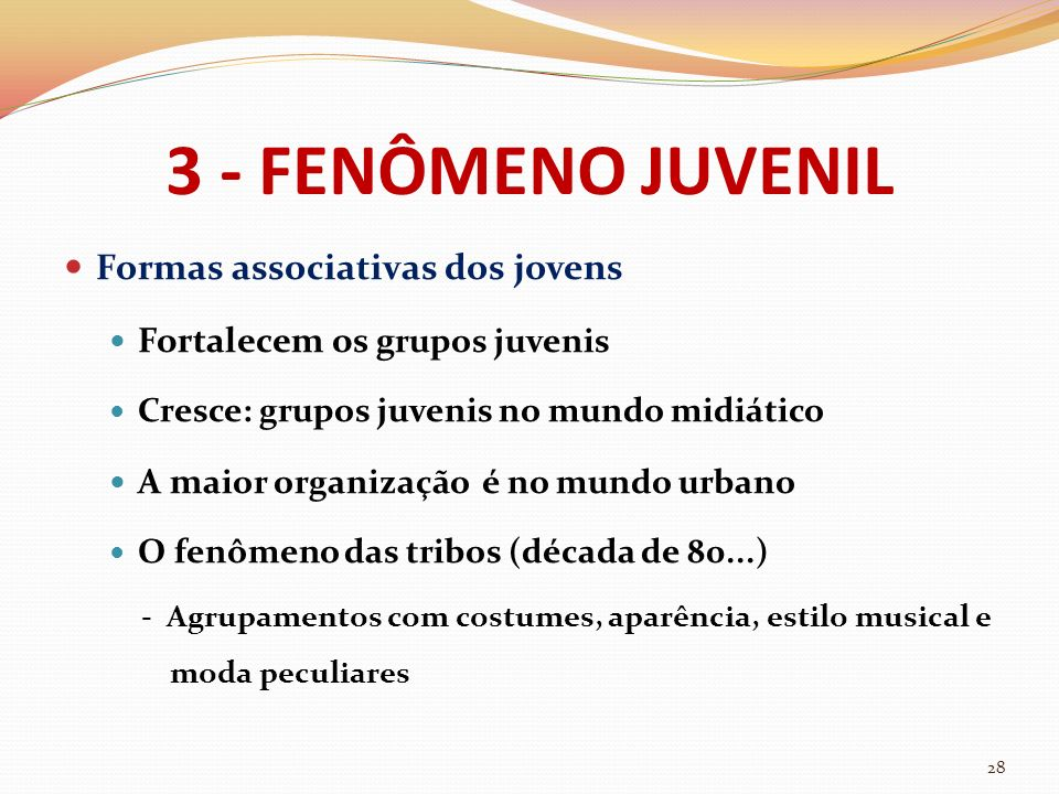 3 - FENÔMENO JUVENIL Formas associativas dos jovens