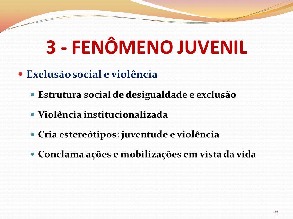 3 - FENÔMENO JUVENIL Exclusão social e violência