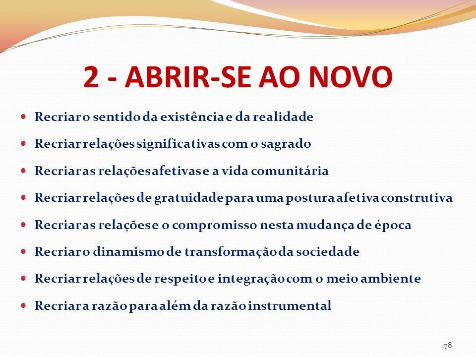 2 - ABRIR-SE AO NOVO Recriar o sentido da existência e da realidade