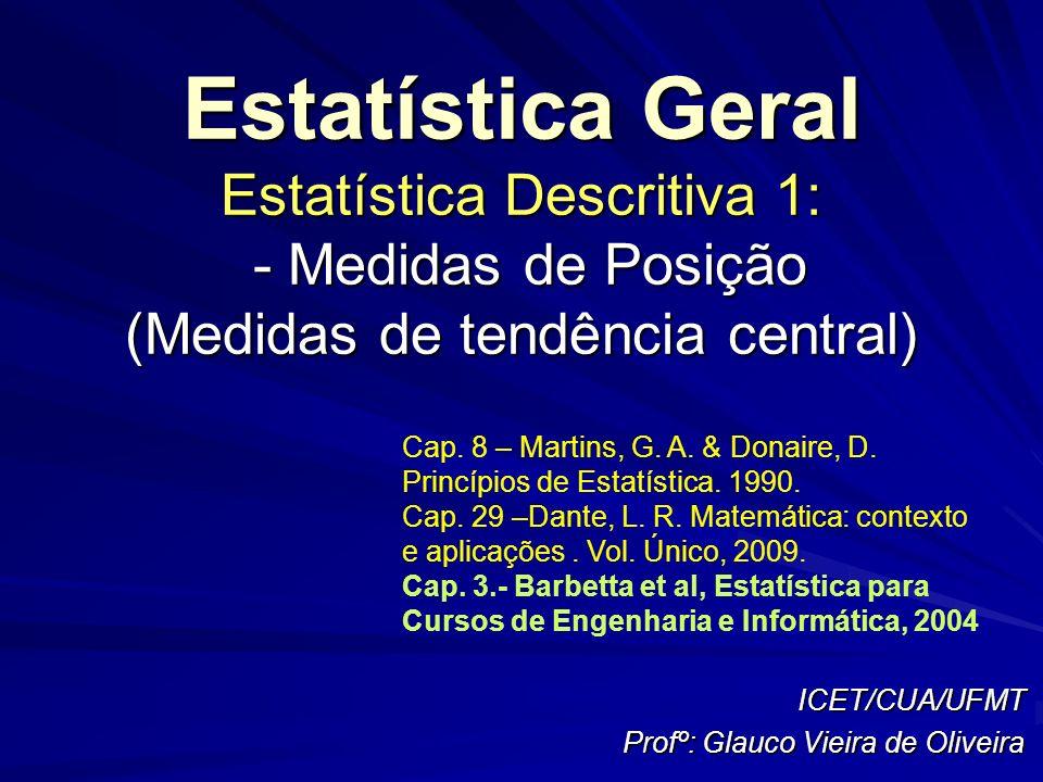 ICET/CUA/UFMT Profº: Glauco Vieira de Oliveira