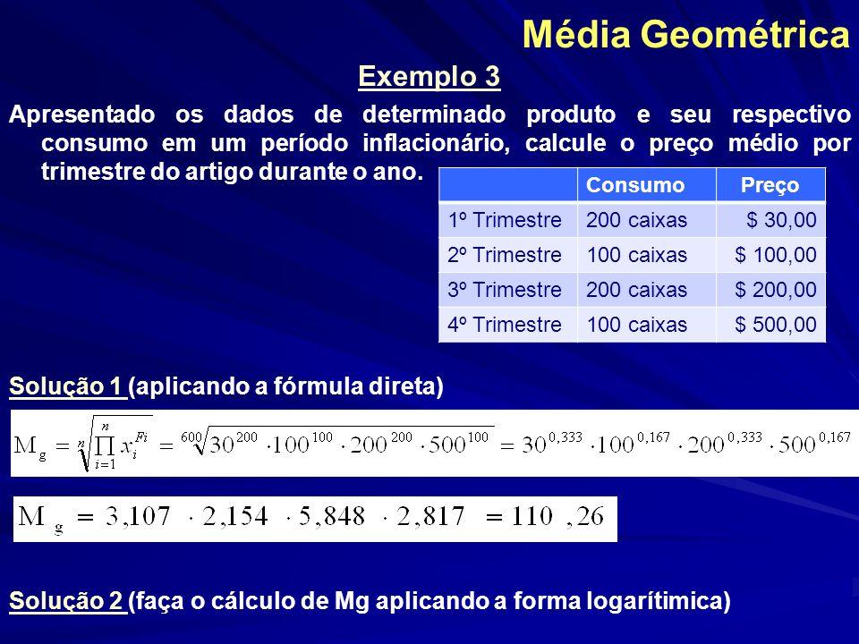 Média Geométrica Exemplo 3