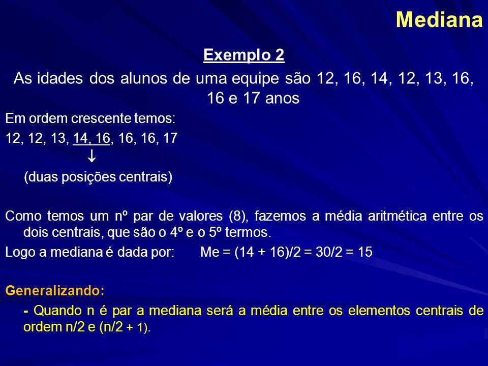 Mediana Exemplo 2. As idades dos alunos de uma equipe são 12, 16, 14, 12, 13, 16, 16 e 17 anos. Em ordem crescente temos: