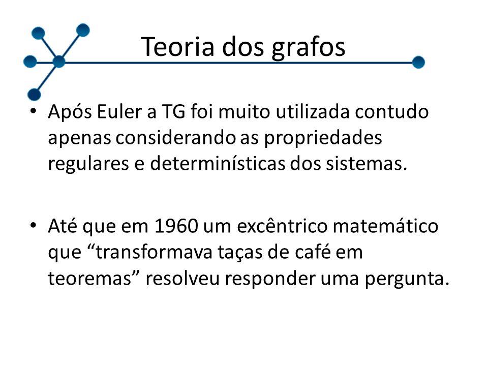 Teoria dos grafos Após Euler a TG foi muito utilizada contudo apenas considerando as propriedades regulares e determinísticas dos sistemas.