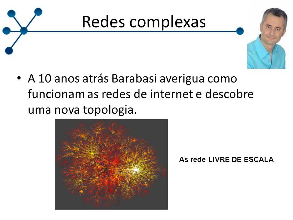 Redes complexas A 10 anos atrás Barabasi averigua como funcionam as redes de internet e descobre uma nova topologia.