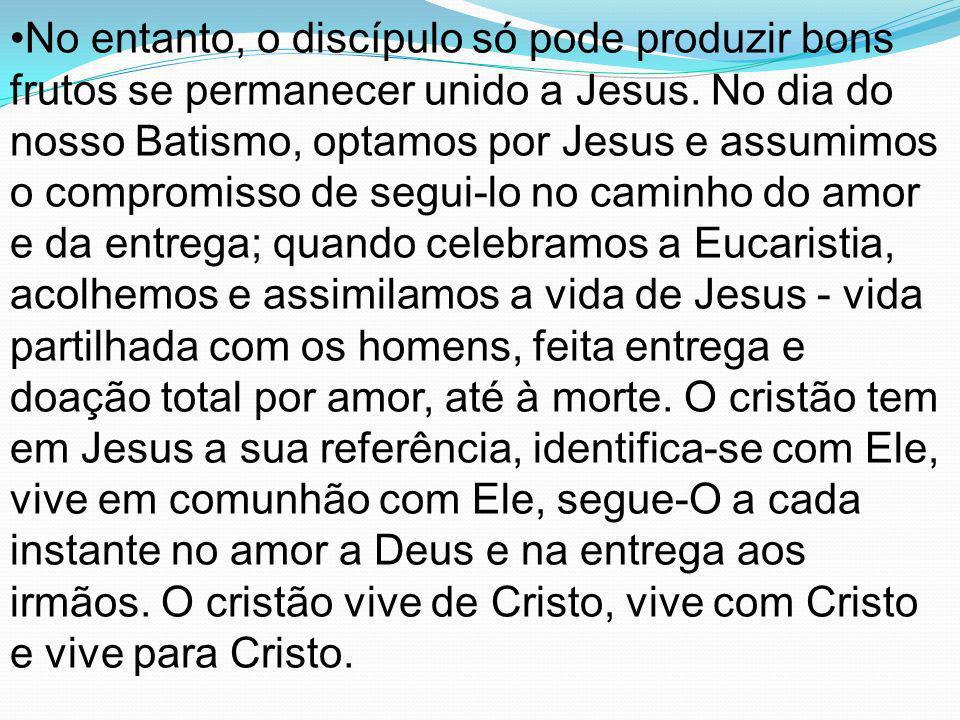 No entanto, o discípulo só pode produzir bons frutos se permanecer unido a Jesus.