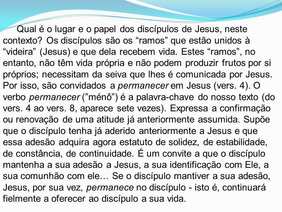 Qual é o lugar e o papel dos discípulos de Jesus, neste contexto