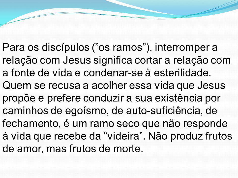 Para os discípulos ( os ramos ), interromper a relação com Jesus significa cortar a relação com a fonte de vida e condenar-se à esterilidade.