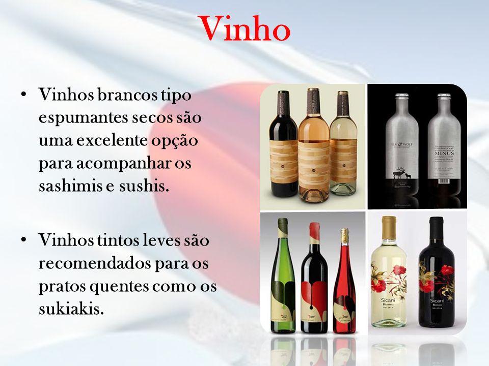 Vinho Vinhos brancos tipo espumantes secos são uma excelente opção para acompanhar os sashimis e sushis.