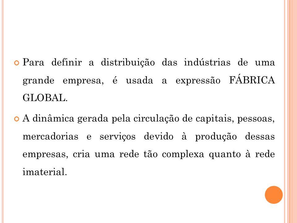 Para definir a distribuição das indústrias de uma grande empresa, é usada a expressão FÁBRICA GLOBAL.