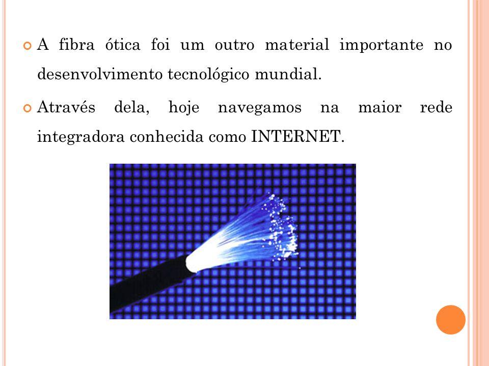 A fibra ótica foi um outro material importante no desenvolvimento tecnológico mundial.