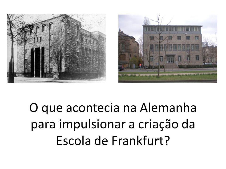 O que acontecia na Alemanha para impulsionar a criação da Escola de Frankfurt