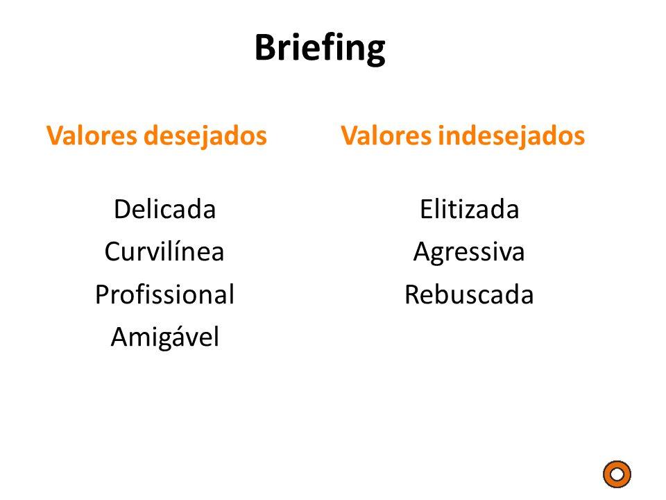 Briefing Valores desejados Valores indesejados Delicada Curvilínea