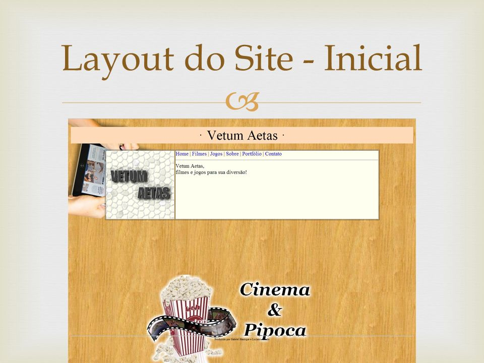 Layout do Site - Inicial