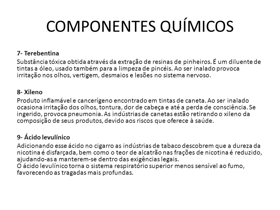 COMPONENTES QUÍMICOS 7- Terebentina