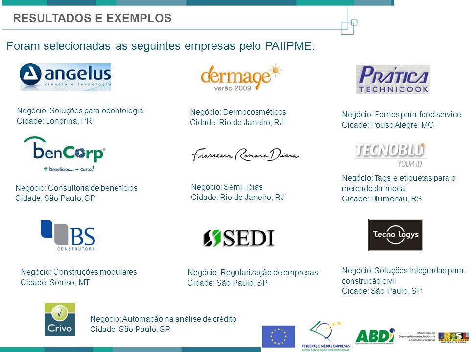 Foram selecionadas as seguintes empresas pelo PAIIPME: