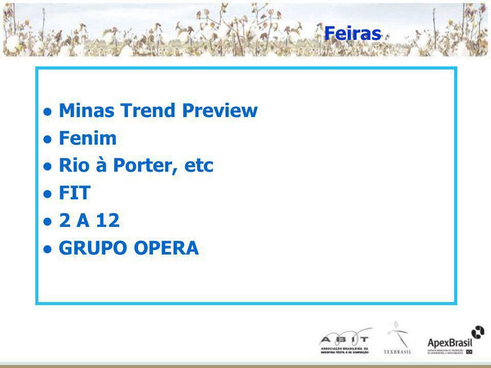Feiras ● Minas Trend Preview ● Fenim ● Rio à Porter, etc ● FIT ● 2 A 12 ● GRUPO OPERA