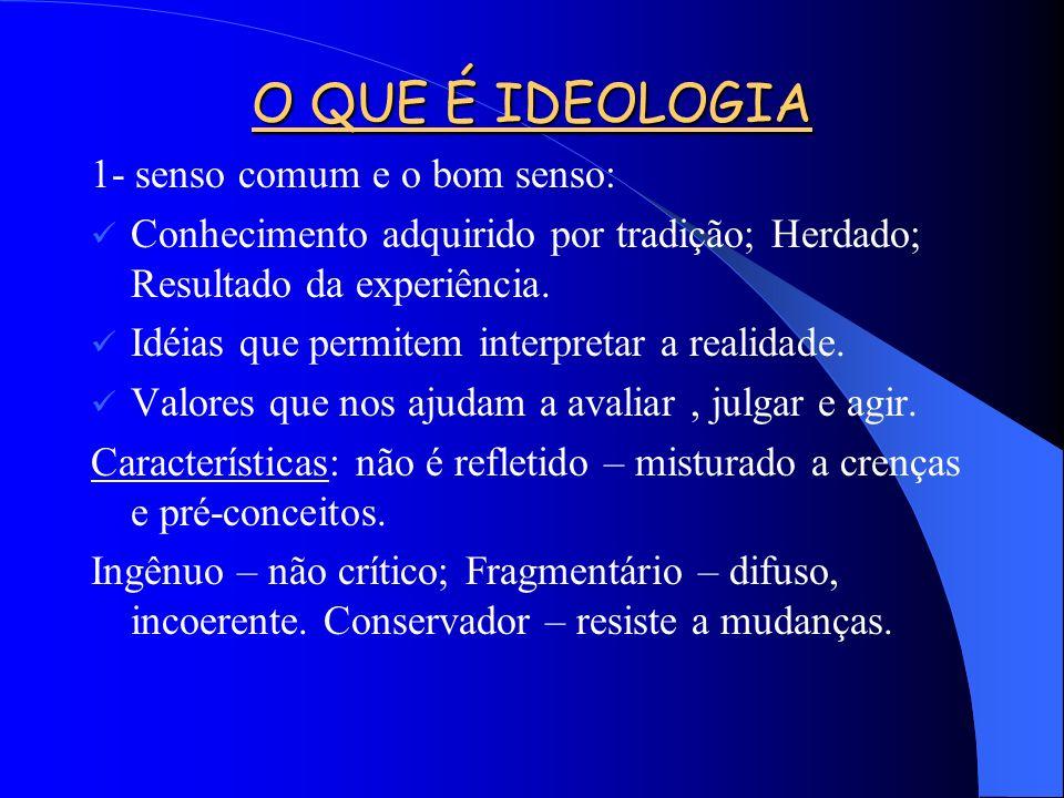O QUE É IDEOLOGIA 1- senso comum e o bom senso: