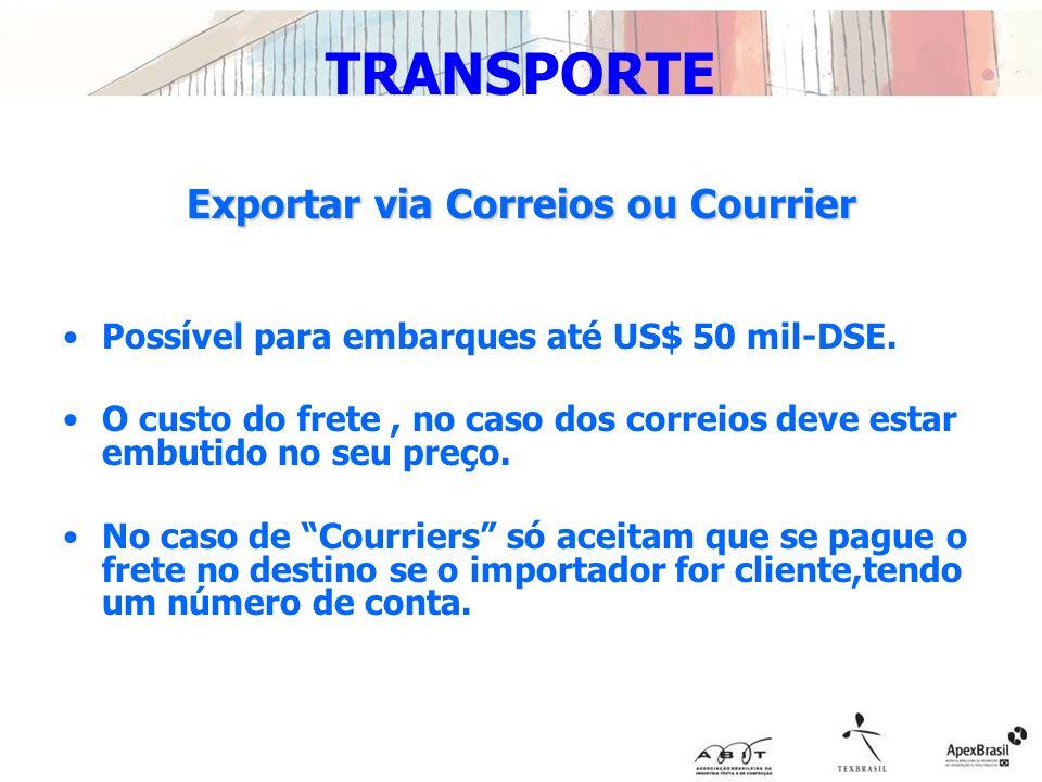 Exportar via Correios ou Courrier