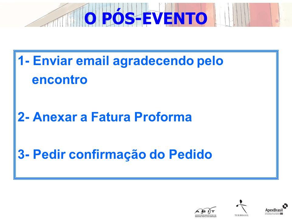 O PÓS-EVENTO 1- Enviar email agradecendo pelo encontro