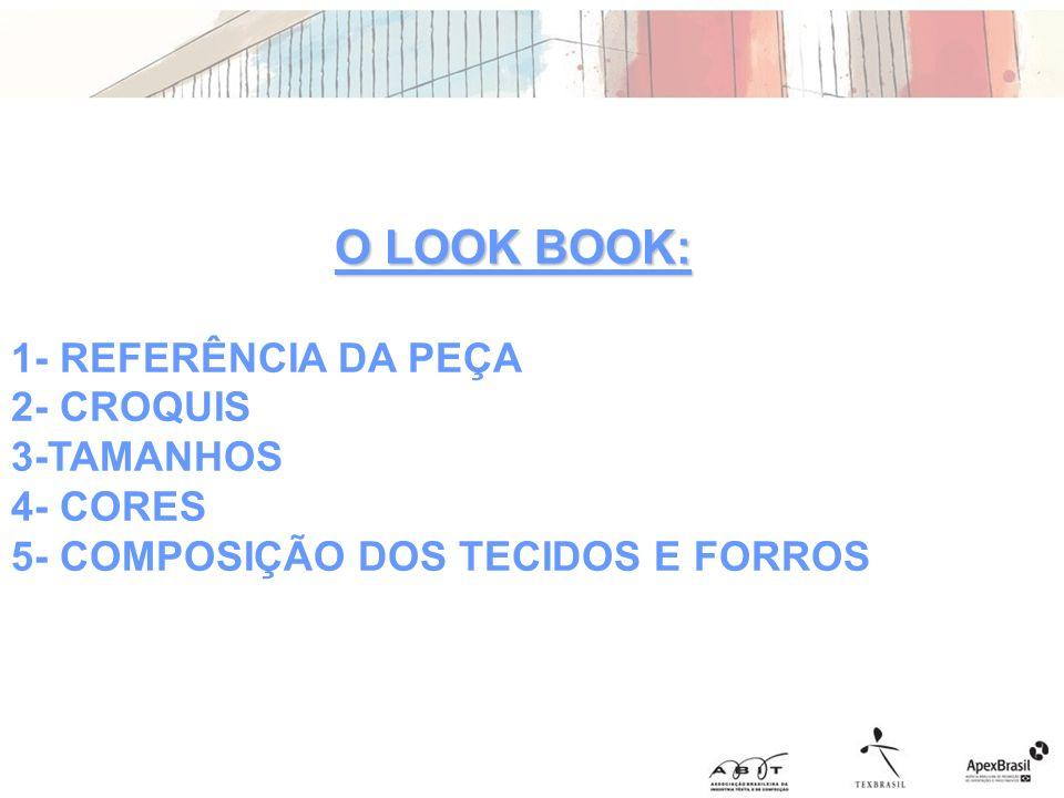 O LOOK BOOK: 1- REFERÊNCIA DA PEÇA 2- CROQUIS 3-TAMANHOS 4- CORES