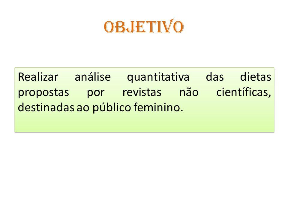 OBJETIVO Realizar análise quantitativa das dietas propostas por revistas não científicas, destinadas ao público feminino.