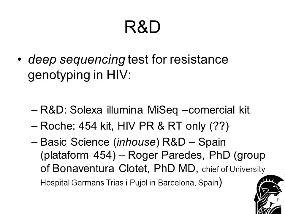 R&D deep sequencing test for resistance genotyping in HIV: