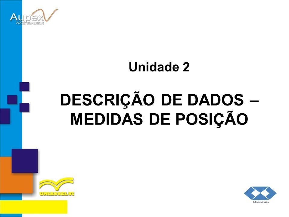 Unidade 2 DESCRIÇÃO DE DADOS – MEDIDAS DE POSIÇÃO