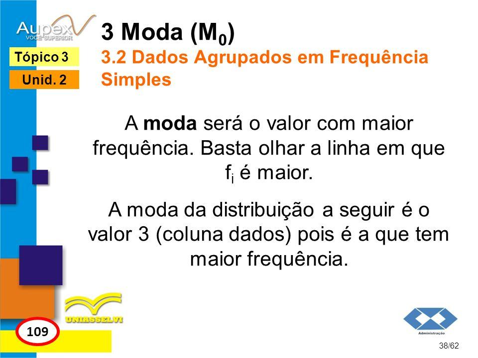 3 Moda (M0) 3.2 Dados Agrupados em Frequência Simples