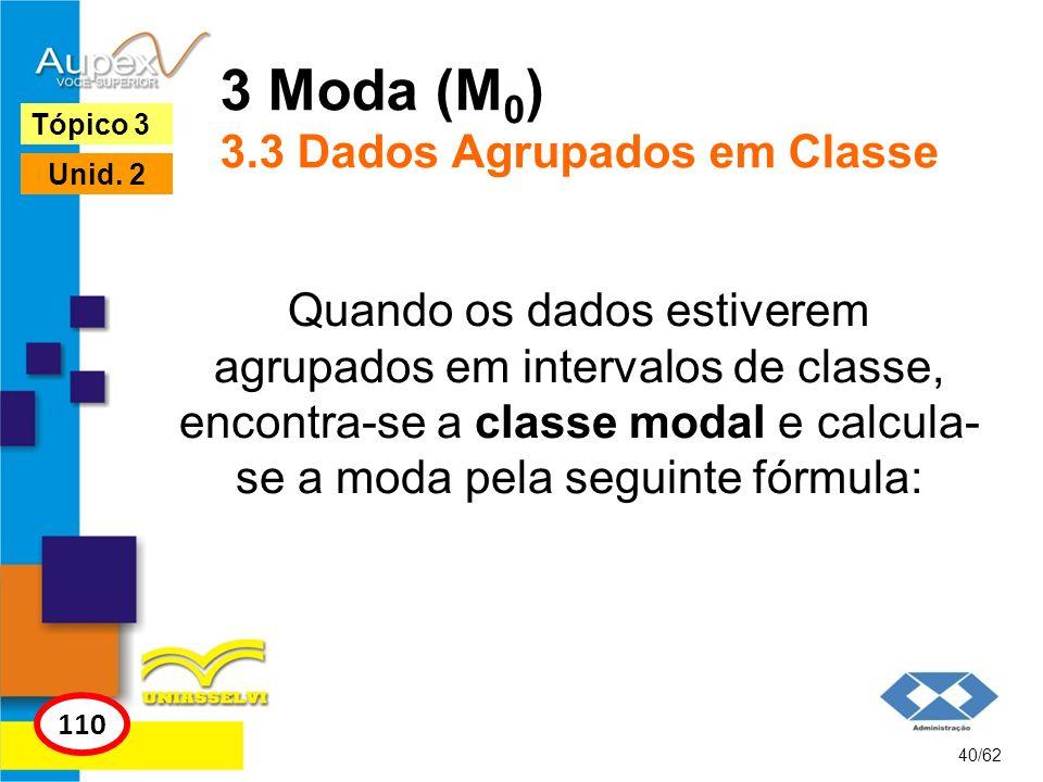 3 Moda (M0) 3.3 Dados Agrupados em Classe
