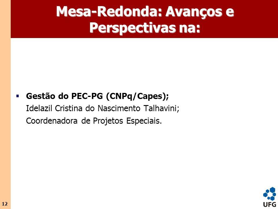 Mesa-Redonda: Avanços e Perspectivas na: