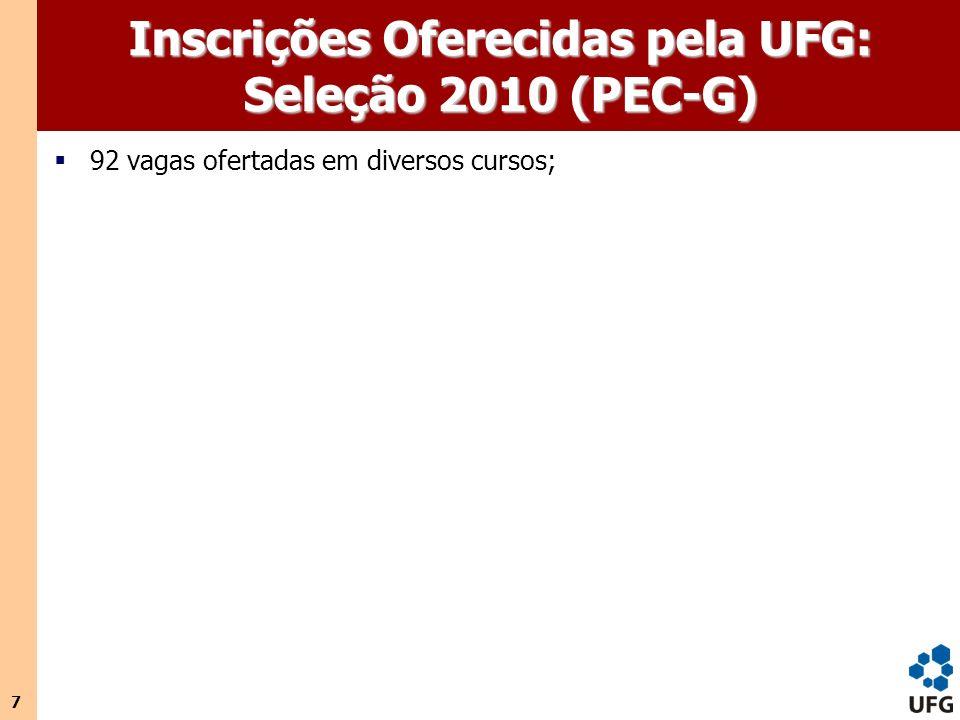 Inscrições Oferecidas pela UFG: Seleção 2010 (PEC-G)