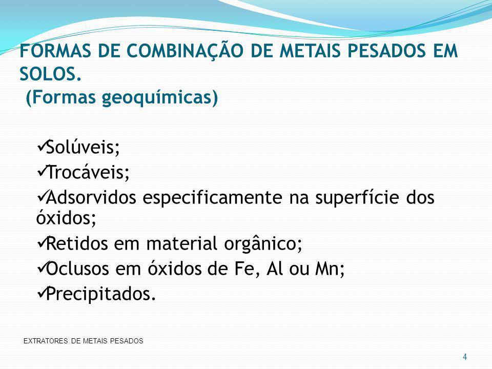 FORMAS DE COMBINAÇÃO DE METAIS PESADOS EM SOLOS. (Formas geoquímicas)
