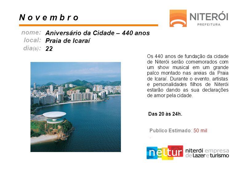N o v e m b r o nome: Aniversário da Cidade – 440 anos local: