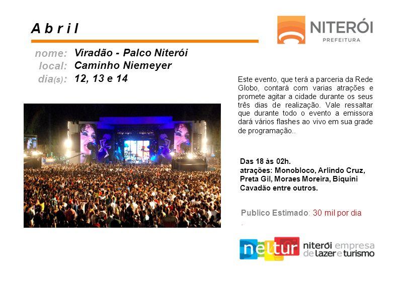 A b r i l nome: local: dia(s): Viradão - Palco Niterói