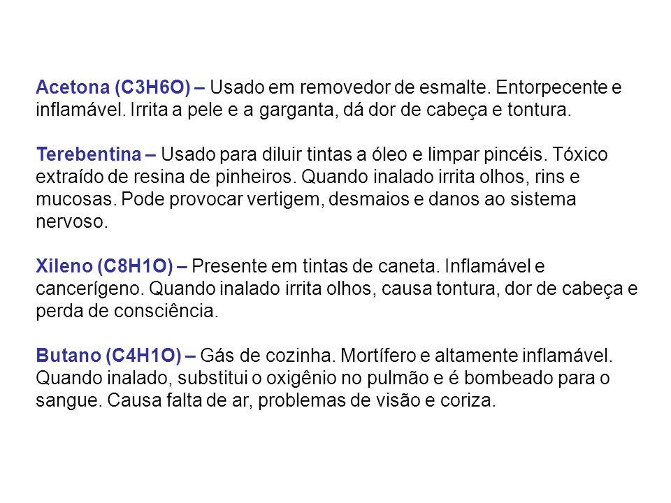 Acetona (C3H6O) – Usado em removedor de esmalte