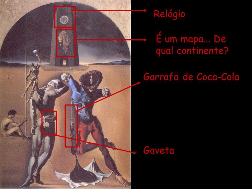 Relógio É um mapa... De qual continente Garrafa de Coca-Cola Gaveta